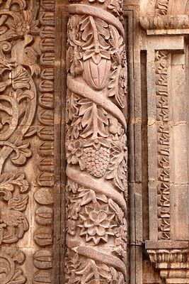 Detail of plants and fruit on column of main facade of cathedral, Puno, Peru
