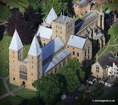 aerial photograph of  Southwell Minster Nottinghamshire England UK.
