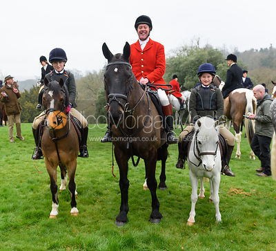 Tom Kingston and family at the meet - The South Shropshire and Belvoir Hunts at Belvoir Castle 11/3/17