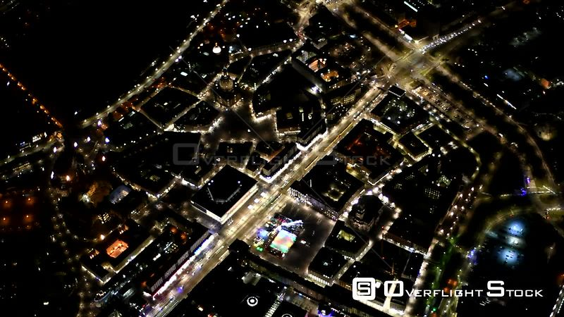 Night aerial video City center on the bank of the river Elbe in the district center in Dresden in the state of Saxony, Germany