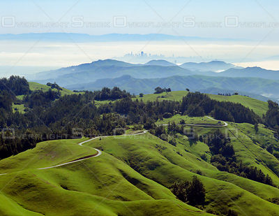 Bolinas Ridge and San Francisco which is bathed in Winter fog.