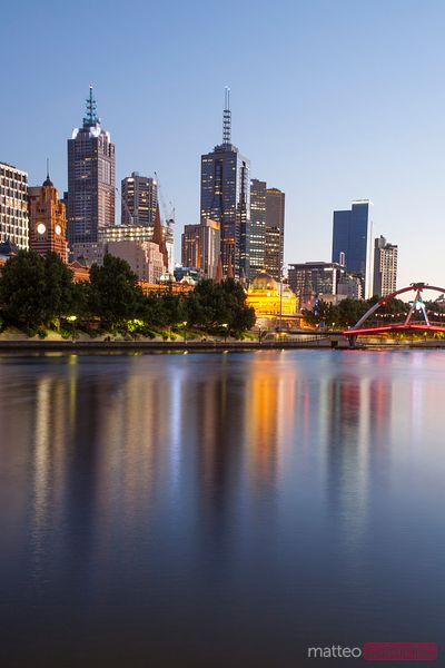 City skyline and Yarra river at sunrise, Melbourne, Australia