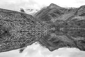 Llyn Padarn, Slate Mound & Snow Capped Mountains (Mono)