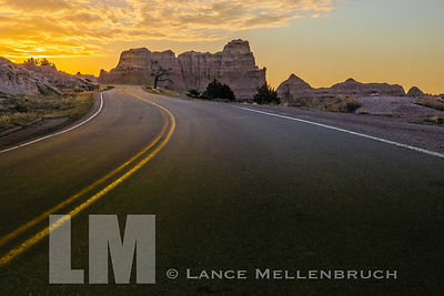 Highway into the Badlands sunrise