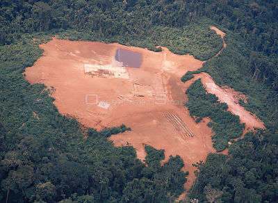 Forest clearance for exploratory oil well in Amazonian Ecuador