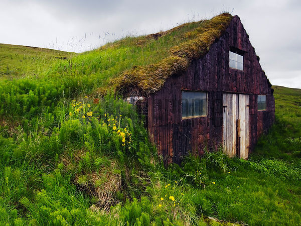 Sod Barn built into the hillside, Iceland