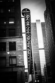 Chicago Cadillac Palace Theatre Sign in Black and White