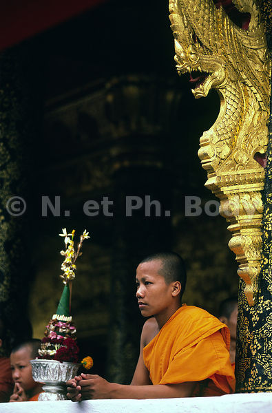 NOVICE DANS UN TEMPLE, LOUANG PHRA BANG, LAOS//LAOS, LOUANG PHRA BANG, VAT MAY