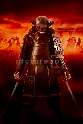 An atmospheric image of an approaching Samurai Warrior, with a battle raging on.