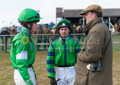 Chris Bealby briefs his jockeys - The Belvoir at Garthorpe 30th March 2013.