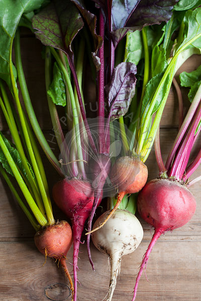 Rainbow Beetroot with leaves