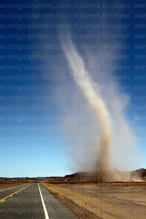 Dust devil next to new road from Condo K to Uyuni, Potosi Department, Bolivia