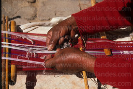 Close up of woman weaving, Taquile Island , Peru
