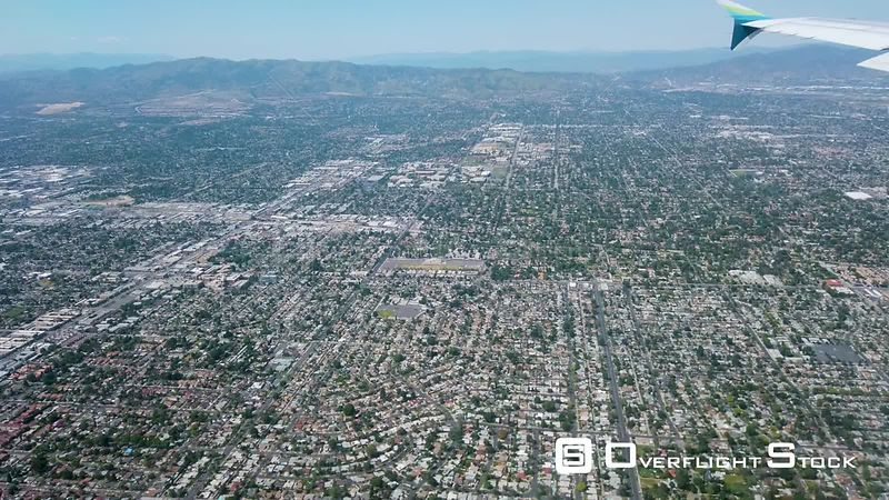 Final Approach To Burbank/Bob Hope Airport While Passing Over Van Nuys Airport California