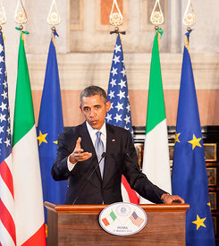 President Barack Obama and Prime Minister Matteo Renzi at Villa Madama in Rome for a Italo-American Summit. Rome, Italy.