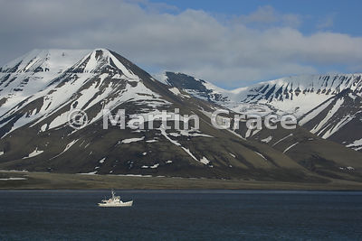 Fishing boat on Adventfjorden, Nordenskiold Land, Spitsbergen, Svalbard