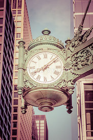 Chicago Clock Retro Photo