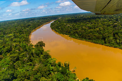 Aerial view of Amazon Rainforest and the Yavari River, Peru. July 2015.