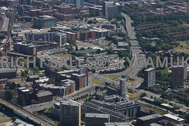 Manchester looking down the Mancunian Way towards the east of the city with the southern Gateway developments sites on the no...