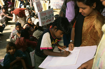 India - Delhi - A child labourer signs up for the Bal Mazdoor Union