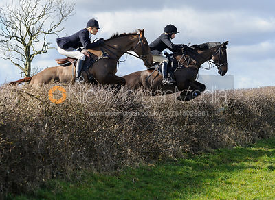 Zoe Gibson and HB jumping a hedge behind Ladywood Lodge