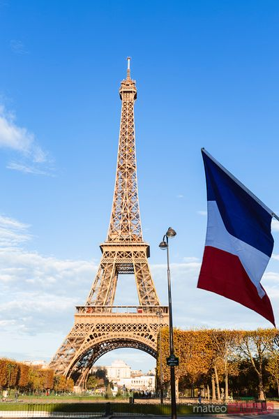 Eiffel tower and french flag, Paris, France