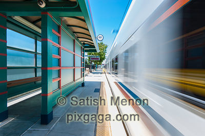 Moving Train at Light Rail Station, Mountain View, CA, USA