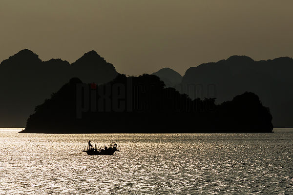 Fisherman in Halong Bay
