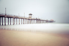 Huntington Beach Pier Foggy Morning