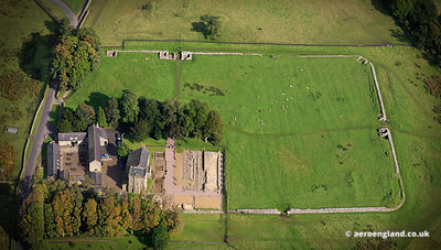 aerial photograph of Birdoswald Roman Fort on Hadrian's Wall  Cumbria England UK