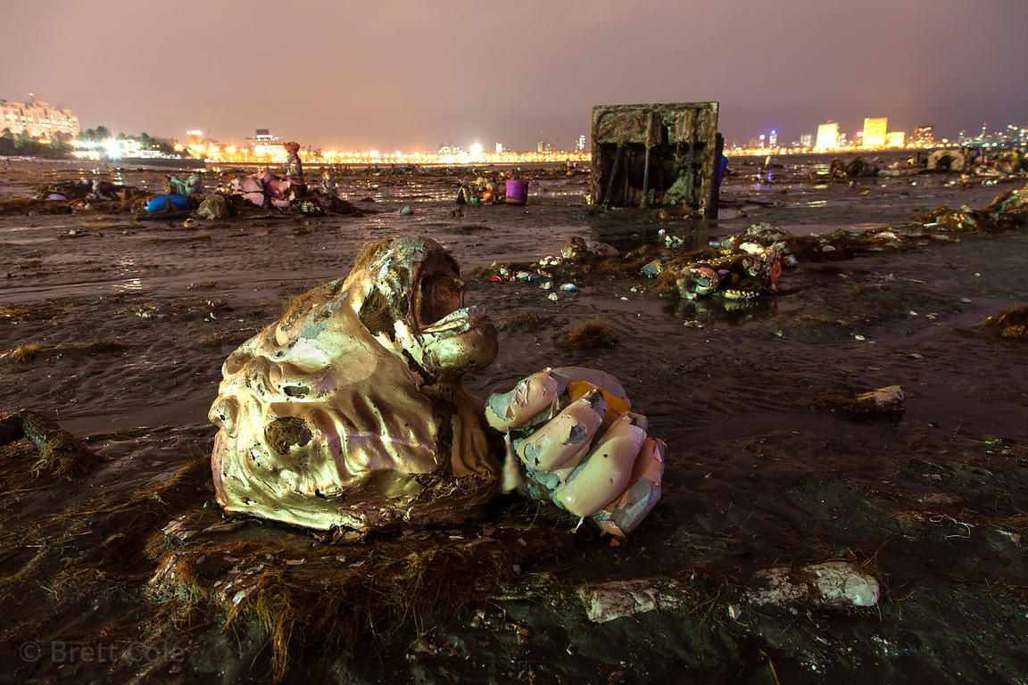 Body parts from idols wash up on Chowpatty Beach in Mumbai, India after the Ganesh Chaturthi festival. Hundreds of idols are ...
