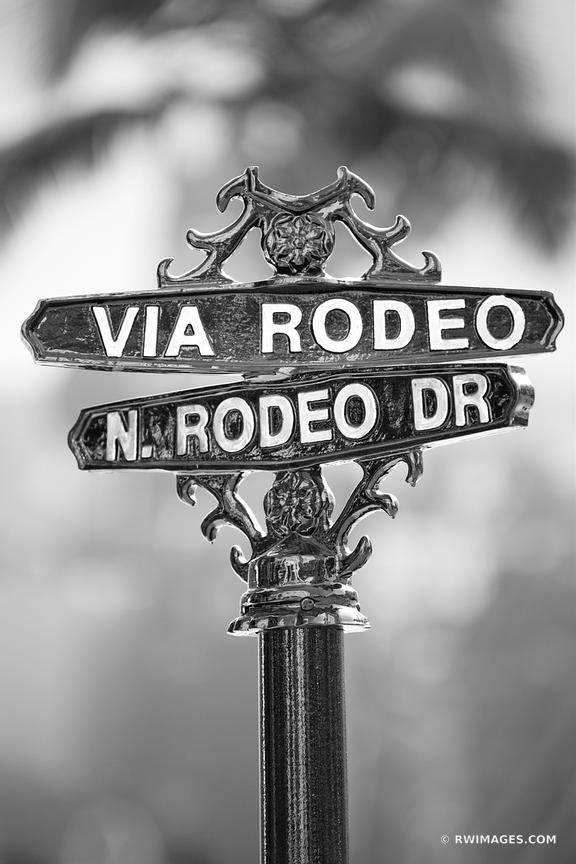 VIA RODEO DRIVE SIGN BEVERLY HILLS CALIFORNIA BLACK AND WHITE VERTICAL