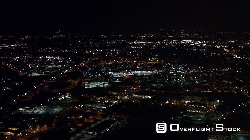 Flying Above Washington DC Area Near Gaithersburg, Maryland, at Night.