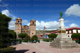 Monument to Colonel Francisco Bolognesi in Plaza de Armas and cathedral, Puno, Peru
