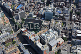 Manchester view looking down on the  Spinningfield Developments Deansgate