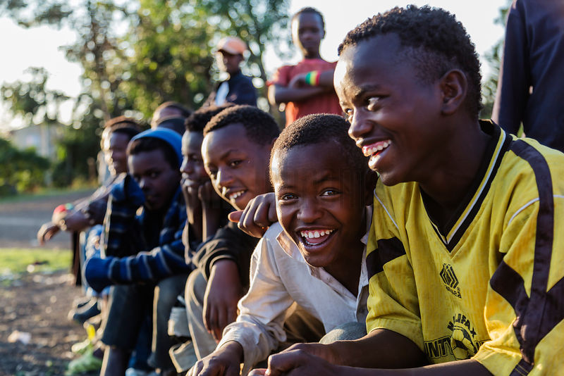 Ethiopian Boys Watching a Soccer Game