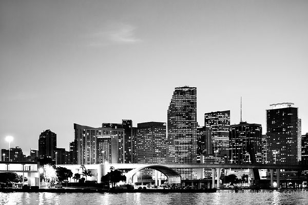 MIAMI SKYLINE AT NIGHT BLACK AND WHITE