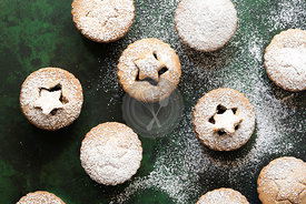 Christmas fruit mince pies with a pastry star on top.