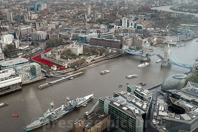 Aerial Shot over The Tower of London's Poppy Installation as all River Traffic stops at 11am on 11th November 2014