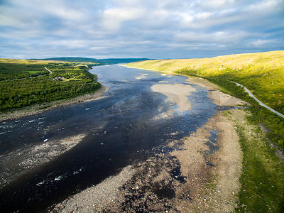 Border River Teno between Finland (right) and Norway