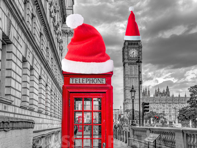 Telephone booth with Big Ben, London, UK