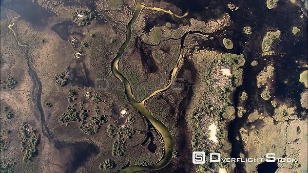 Aerial shot of deep channels and the floodplains of the Okavango Delta Okavango Delta Botswana Botswana