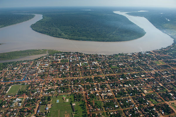 Aerial view of Riberalta town and the Beni River, Beni Department, Northeastern Bolivia.