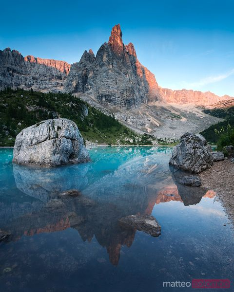 Sorapiss lake at sunrise, Dolomites, Italy