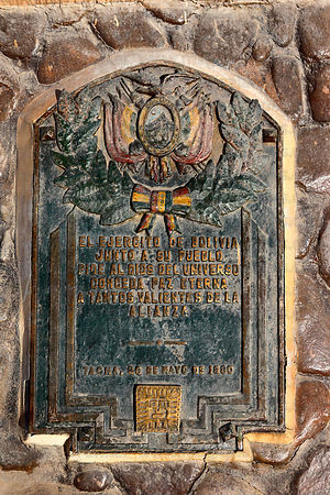 Plaque from the Bolivian army honouring soldiers who died on monument at site of the Battle of Alto de la Alianza , near Tacn...