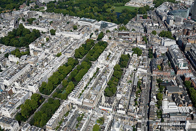 aerial photograph of Eaton Square Gardens.Belgravia London England UK showing Eaton Square, London SW1W 9AN , St Michael's Ch...