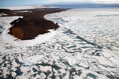 Aerial shot of pack ice surrounding Franz Josef Land, Russian Arctic, July 2004.
