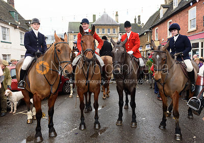 Marina Bealby, Ashley Bealby, Major Tim Brown, Lara Hellyer At the meet. The Cottesmore Hunt Boxing Day Meet in Oakham 26/12