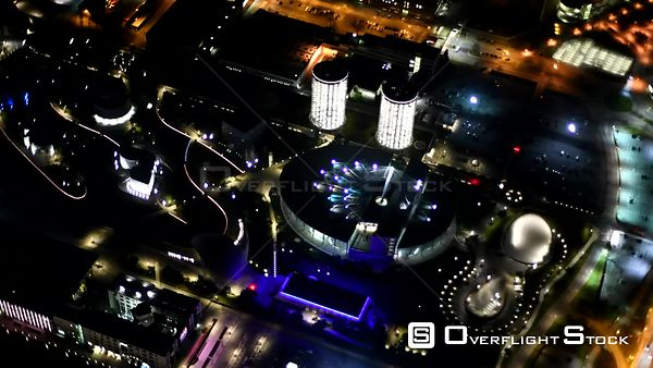 Night air video Tourism attraction and landmark Autostadt GmbH at the Volkswagen AG plant in Wolfsburg in the state of Lower ...