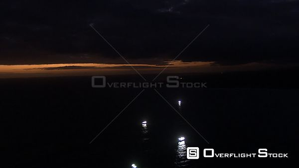 Fishing trawler boat at sea at night South Africa